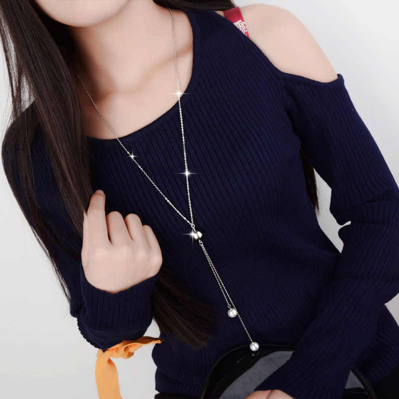 Fashion 925 Sterling Silver Charm Long Sweater Chain Necklacer for Women Pearl Rhinestone Choker Jewelry Accessories Trendy Gift