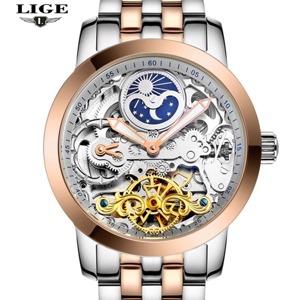 ФОТО LIGE Brand Luxury Mechanical Watch Men Sport Hollow Clock dive Casual Fashion Business Full Steel Men watches Relogio Masculino