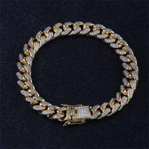 Hip Hop Miami Cuban Link Chain Silver Gold Bracelet Men CZ Clasp Iced Out Crystal Rhinestone Bling Hip-Hop for Men's Jewelry