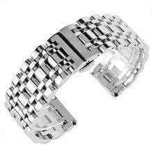 Correa de reloj de acero inoxidable para hombre y mujer, banda de reloj de lujo de plata de 20/22/24mm, repuesto de pulsera + 2 barras de resorte