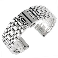 Lüks gümüş 20/22/24mm Watchband erkek kadın paslanmaz çelik saat kayışı kayış bilezik değiştirme + 2 bahar çubukları