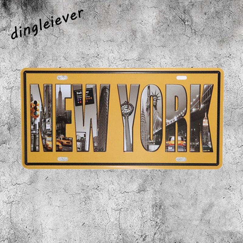 New York city License plate vintage metal sign home decoration accessories wall decals