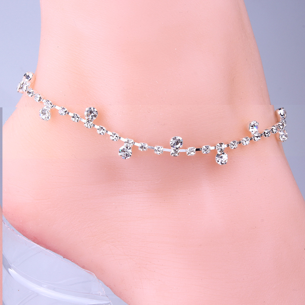 Sexy Clear Rhinestone Anklet Foot Sandal Beach Wedding Jewelry Ankle Bracelet Bracelets Anklets for women free shipping