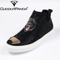 CUDDLYIIPANDA 2018 Men Punk Shoes New Arrival Men Fashion Crystal Spring Autumn Slip On Top Quality