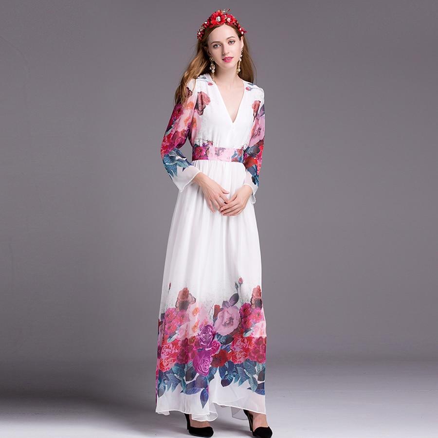 V Vente Longues Vacances D'été Imprimer Longue Col Mode Femmes De Manches Robe Fleurs À As cou Robes V Empire 2018 Photo Chaude Bohème Blanc W7ZFqcnOxU