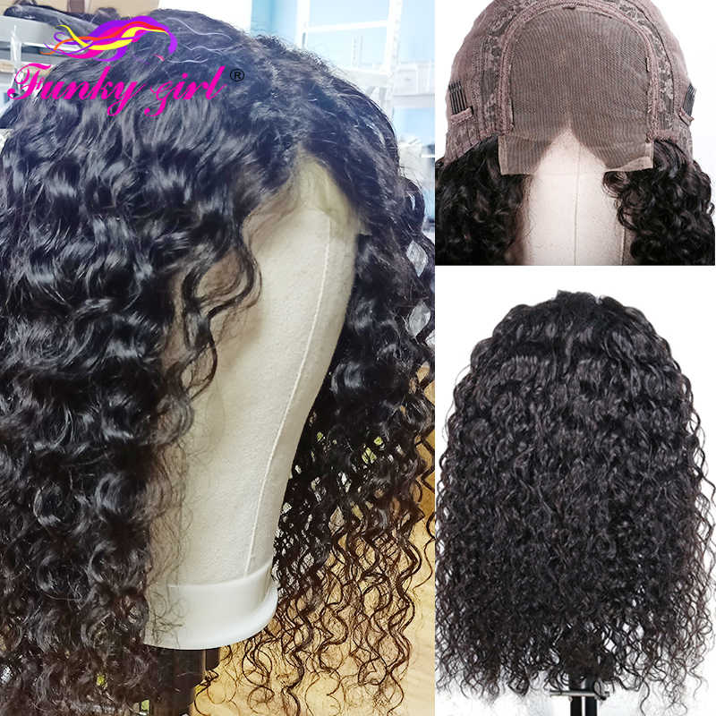 Funky Girl Water Wave Lace Closure Wig 150% Density 4x4 Brazilian Lace Wig Pre Plucked Non-Remy Human Hair Wigs For Black Women