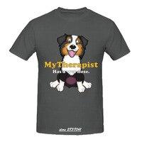 RTTMALL Moda Komik t shirt Mens Retro Köpekler için Vardır Bizim arkadaş T-shirt % 100% Pamuk Avustralya Çoban Kırmızı Tri Atlama Guy Üst