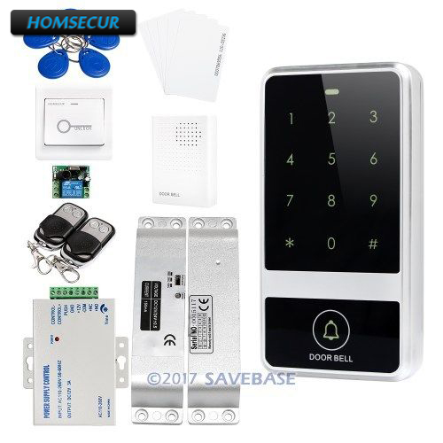 HOMSECUR Waterproof Door Lock Metal Access Control System With Touch Keypad + Surface Mount Drop Bolt Lock