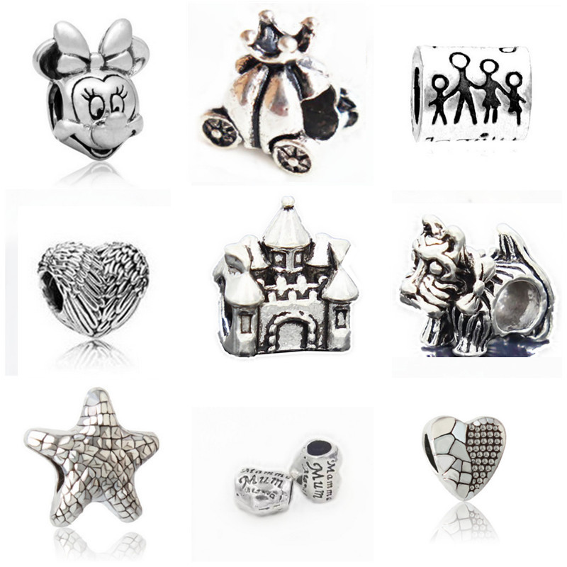 Couqcy fashion Silver-plated Bead Charm Vintage lovely Charms Fit Women Pandora Charm Bracelets & Bangle DIY Jewelry wholesale