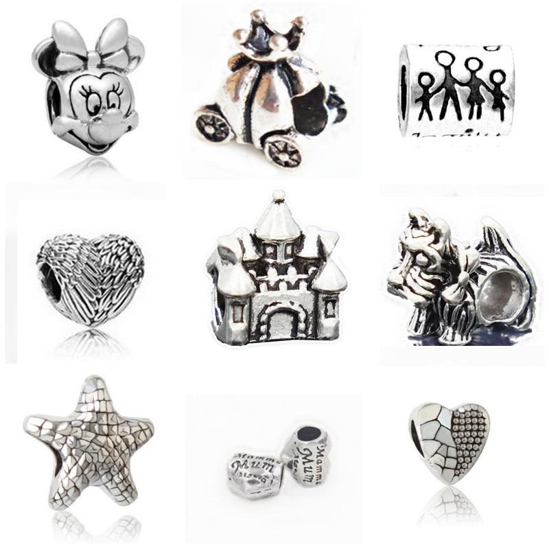 ⑦Couqcy moda plateado bead encanto de la vendimia encantadora ...