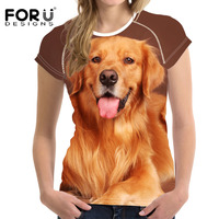 FORUDESIGNS Summer Style Harajuku T Shirt Women Clothes Tops O Neck Tee Shirts Funny Dog Print