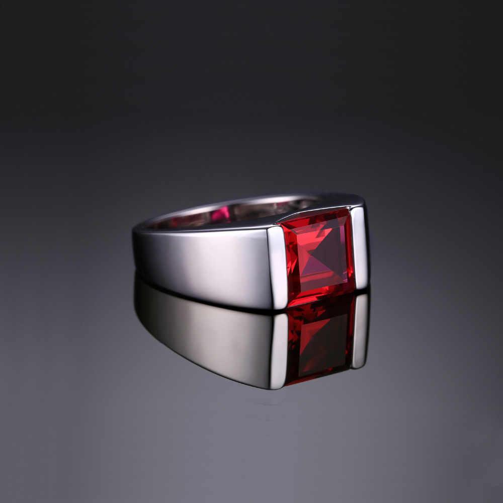 JewPalace 3.3ct 作成レッドルビーリング 925 スターリングシルバー結婚指輪のためリングシルバー 925 宝石ジュエリーファインジュエリー