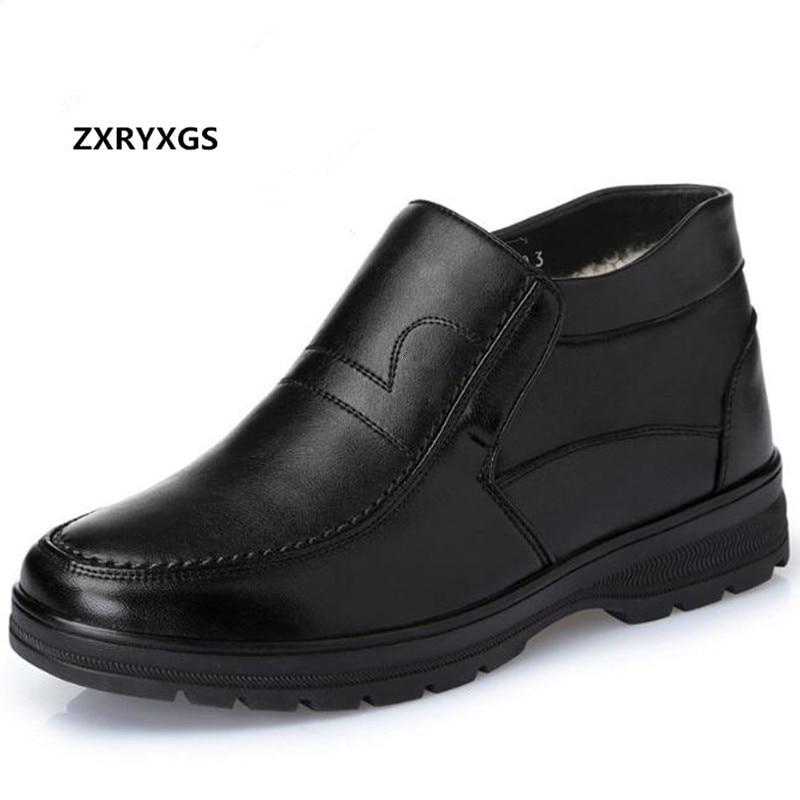 2019 새로운 coomfort 따뜻한 플러시/양모 겨울 부츠 남자 신발 패션 대형 37 45 정품 가죽 부츠 스노우 신발 남자 부츠-에서겨울 부츠부터 신발 의  그룹 1
