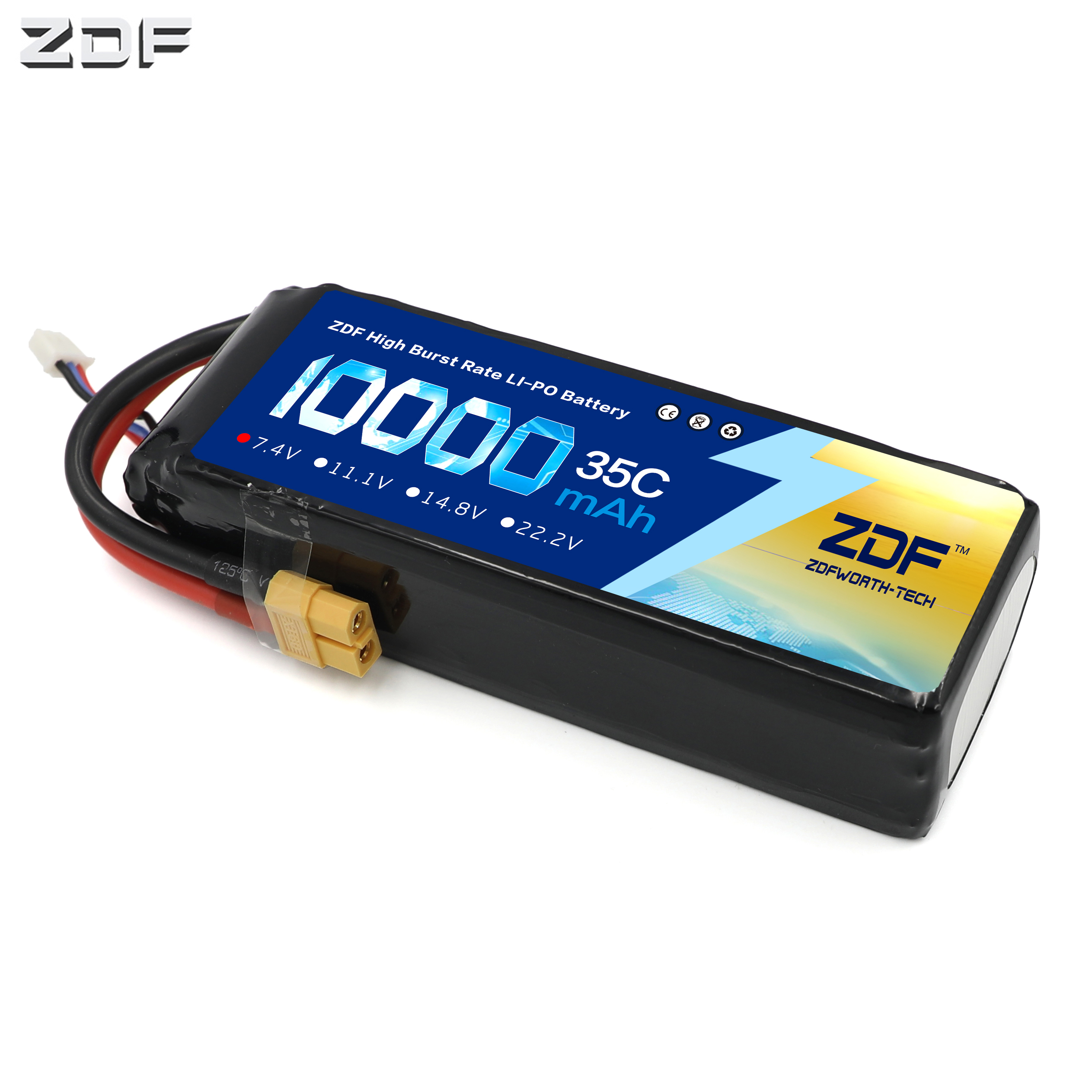 ZDF RC Car Lipo Battery 2S 3S 7.4V / 11.1V 10000mah 35C Max 70C XT90 / XT60/ T Plug For Rc Airplane Traxxas Car RC Truck image