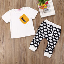 Summer Toddler Baby Boy Pocket T-shirt Pants Trousers 2pcs Outfits Clothes Set Children Infant Boys Costume