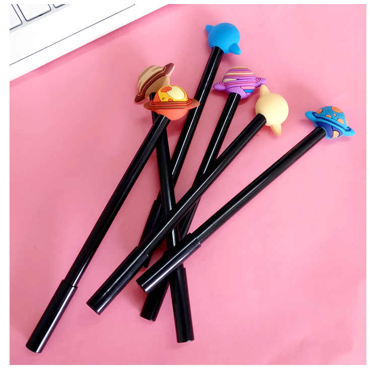 1 adet güney kore kırtasiye kalemler okul araçları renkli gezegen jel siyah kalem öğrenci kırtasiye işareti kalem ofis malzemeleri