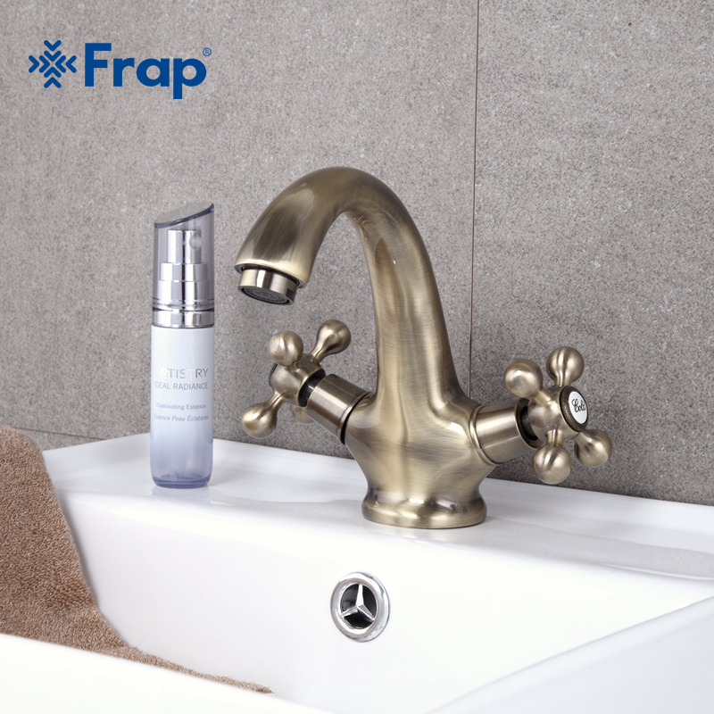 Frap Retro Style Antique Faucet Bronze Brushed Sink Tap Classic Vintage Basin Sink Mixer Double Handle Cozinha F1019-4 бокал