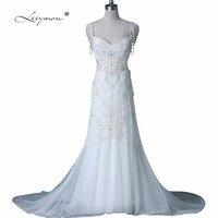 Leeymon Luxury Beaded Beach Wedding Dress Sexy Backless Wedding Gown Robe de Marriage A359