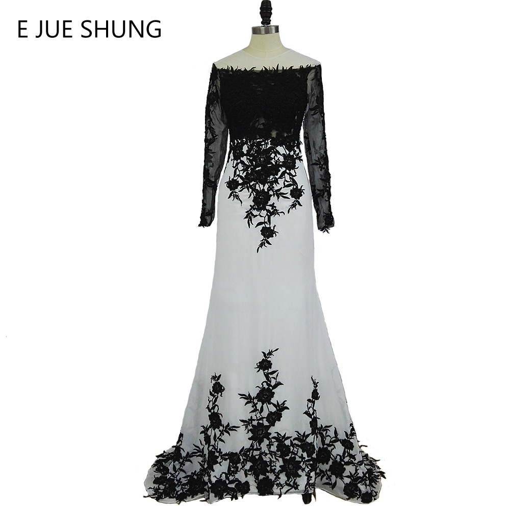E JUE SHUNG Vit Svart Lace Applikationer Mermaid Long Evening Dresses Lång Ärmar Eleganta Formella Aftonklänningar Kappa Soiree