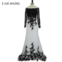 E JUE SHUNG White Black Lace Appliques Mermaid Long Evening Dresses Long Sleeves Elegant Formal Evening Gowns robe de soiree