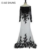 E Jue Шунг Белый Черный Кружево аппликации Русалка Длинные Вечерние платья одежда с длинным рукавом элегантные вечерние платья вечернее плат