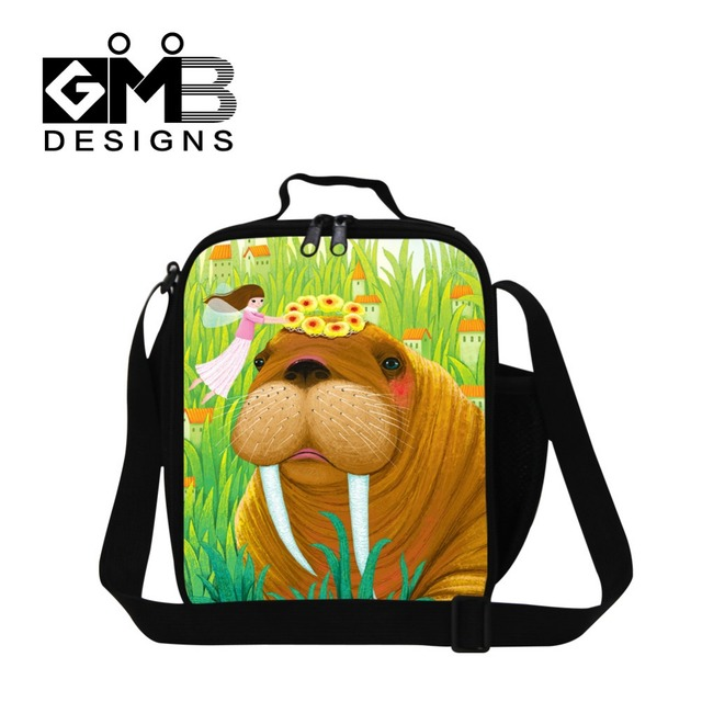 Pretty Illustration insulated lunch bag for teenager girls,sea lion work lunch bag for women,thermal lunch container for school