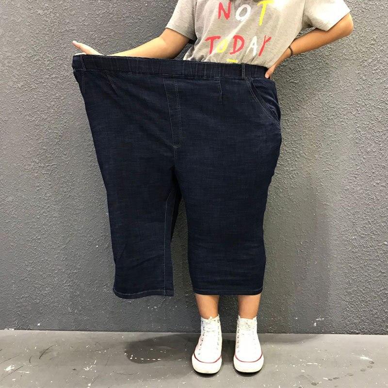 Plus Size 10XL 9XL 8XL Women Jeans Capri Pants Pencil Female Elastic High Waisted Strech Jeans Ladies Summer Thin Denim Trousers