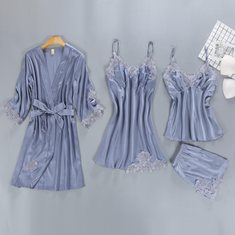 2018 Autumn Long Sleeve Women Sleepwear Silk Satin Pajamas With Chest Pad Nightwear 4pcs/set Sexy Lace Home Wear Female Lingerie