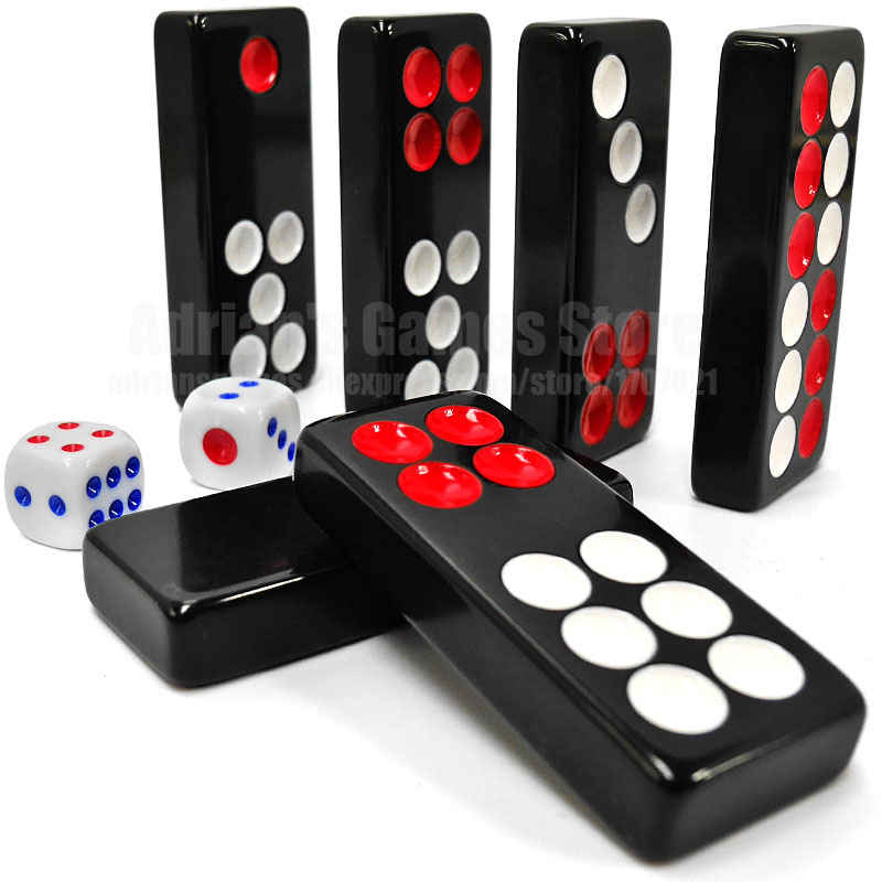 4 Sizes Black Domino Pai Gow 32pcs Dominoes With 2 Dices Board Game Dominos Games Jogos De Tabuleiro