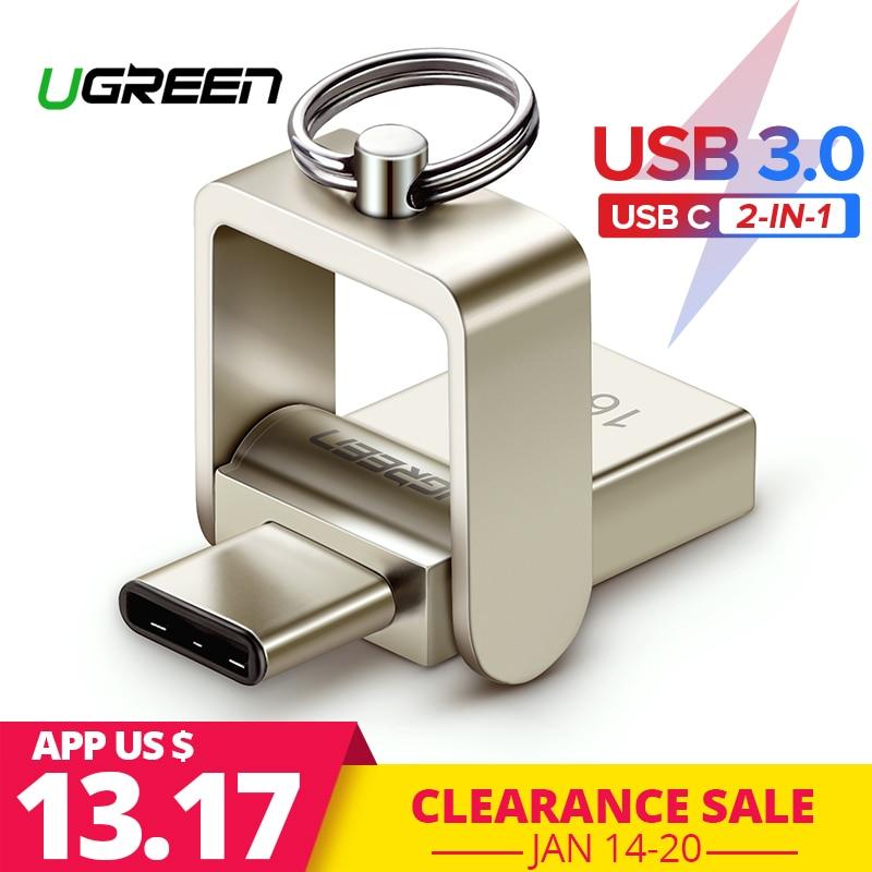 Ugreen unidad Flash USB 3,0 USB-C OTG Pendrive 64 32 GB para Samsung Galaxy S9 Plus Nota 9 para Xiaomi Redmi5 de memoria stick Pen Drive