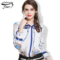 2017 European Trade Women Blouse Classic Printing Tencel Shirt Turn Own Collar Tops Fashion Female Clothing