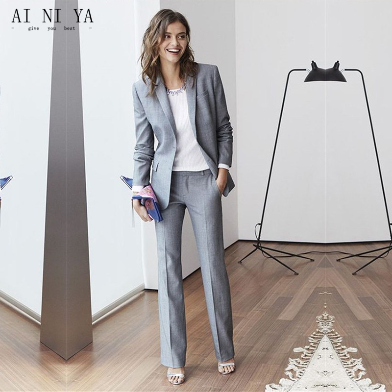 Women Pant Suits Notch Lapel Women Ladies Office Business Tuxedos Formal New Hot Suits Work Wear