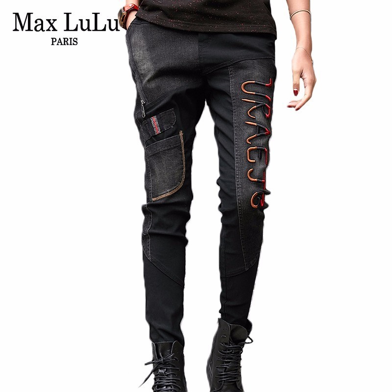 Max LuLu 2019 Luxury Korean Vintage Ladies Harem Pants Womens Black Ripped Jeans Push Up Woman Denim Trousers Plus Size Pantolon