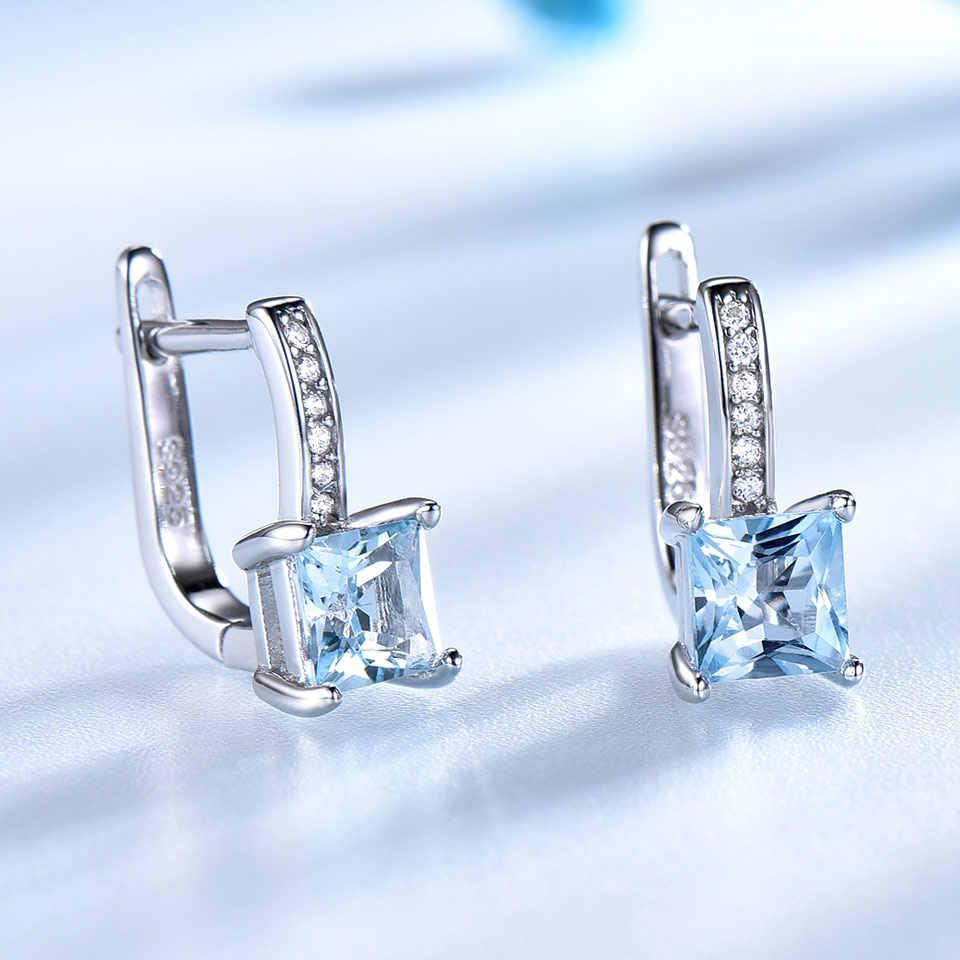 UMCHO Sky Blue Topas Edelstein Clip Ohrringe für Frauen Solide 925 Sterling Silber Trendy Romantische Modische Schmuck Geschenk Hochzeit