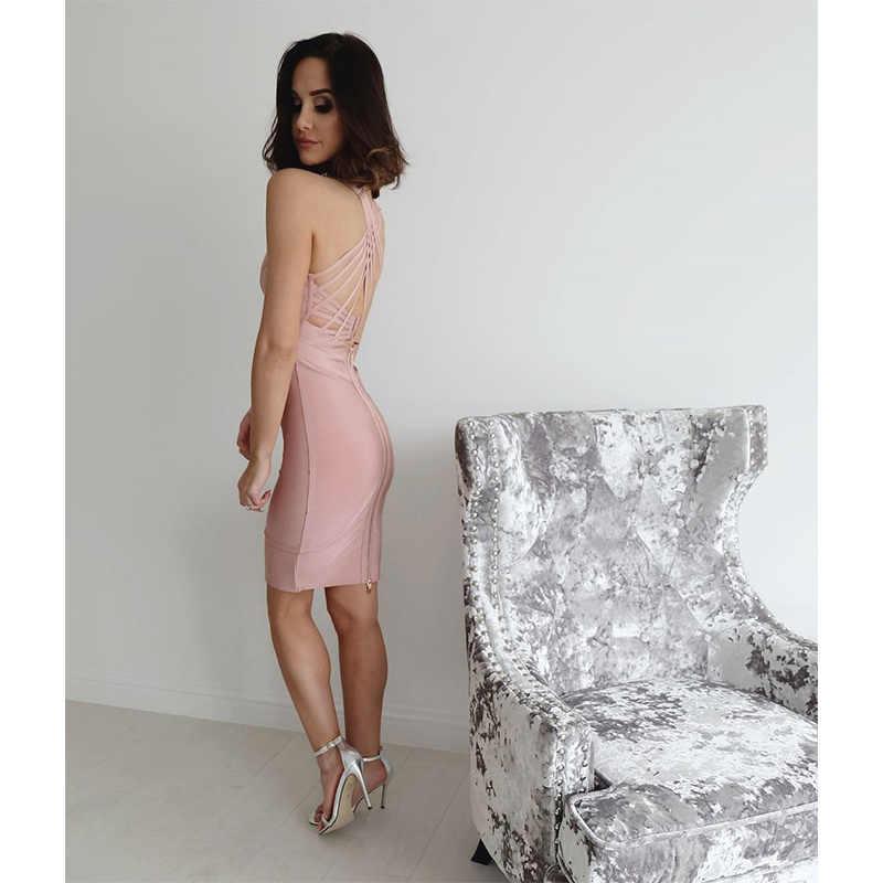 Leger Babe/розовое Бандажное платье с v-образным вырезом, элегантное платье до колена, перекрещивание сзади, бесплатная доставка, опт Прямая доставка, дешевая мода
