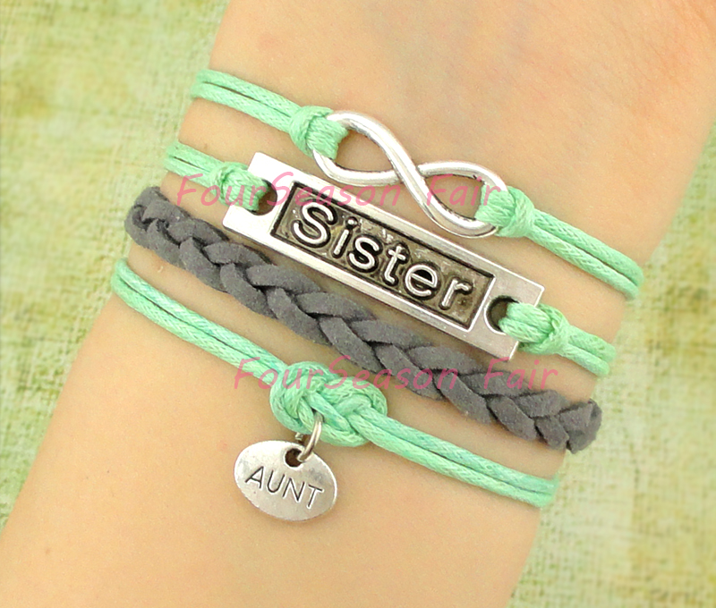 Custom Infinity Love Sister Aunt Charm Bracelet Wax Cords Leather Braid Multilayer Adjule Family Drop Shipping In Bracelets From Jewelry