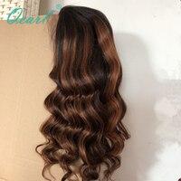 Glueless Синтетические волосы на кружеве парики 1B/33 #/30 # Выделите ломбер Цвет толстой тяжелой 180%/200% плотность Реми бразильский объемная волна па