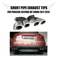 2PCS\/Set Stainless Steel Car Ehaust Tip Tail Muffler Short Pipes Fir for Porsche Cayenne V8 Turbo 2011-2014 Car Styling