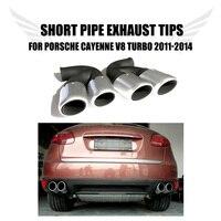 2PCS/Set Stainless Steel Car Ehaust Tip Tail Muffler Short Pipes Fir for Porsche Cayenne V8 Turbo 2011-2014 Car Styling