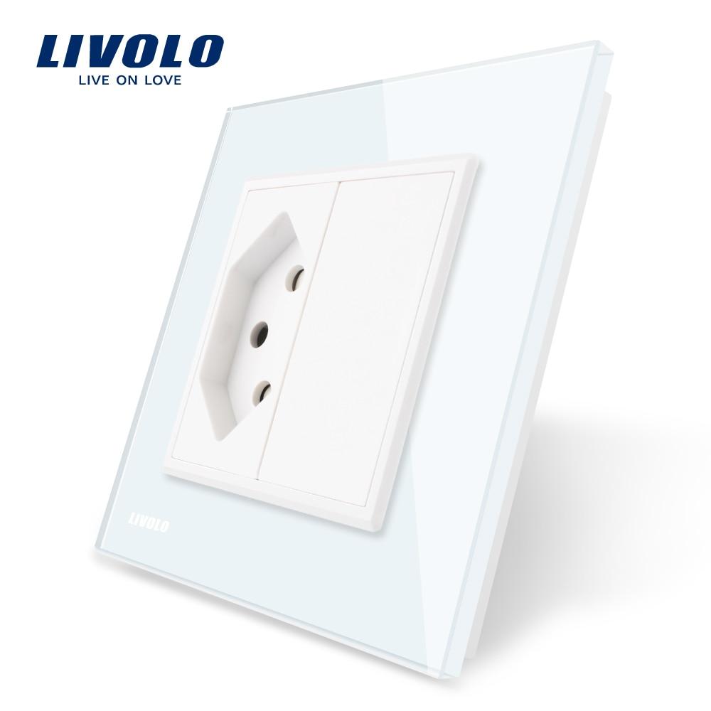 Livolo EU Standard Switzerland Power Socket, White Crystal Glass Panel, AC 110~250V  Wall Power Socket, VL-C7C1CH-11