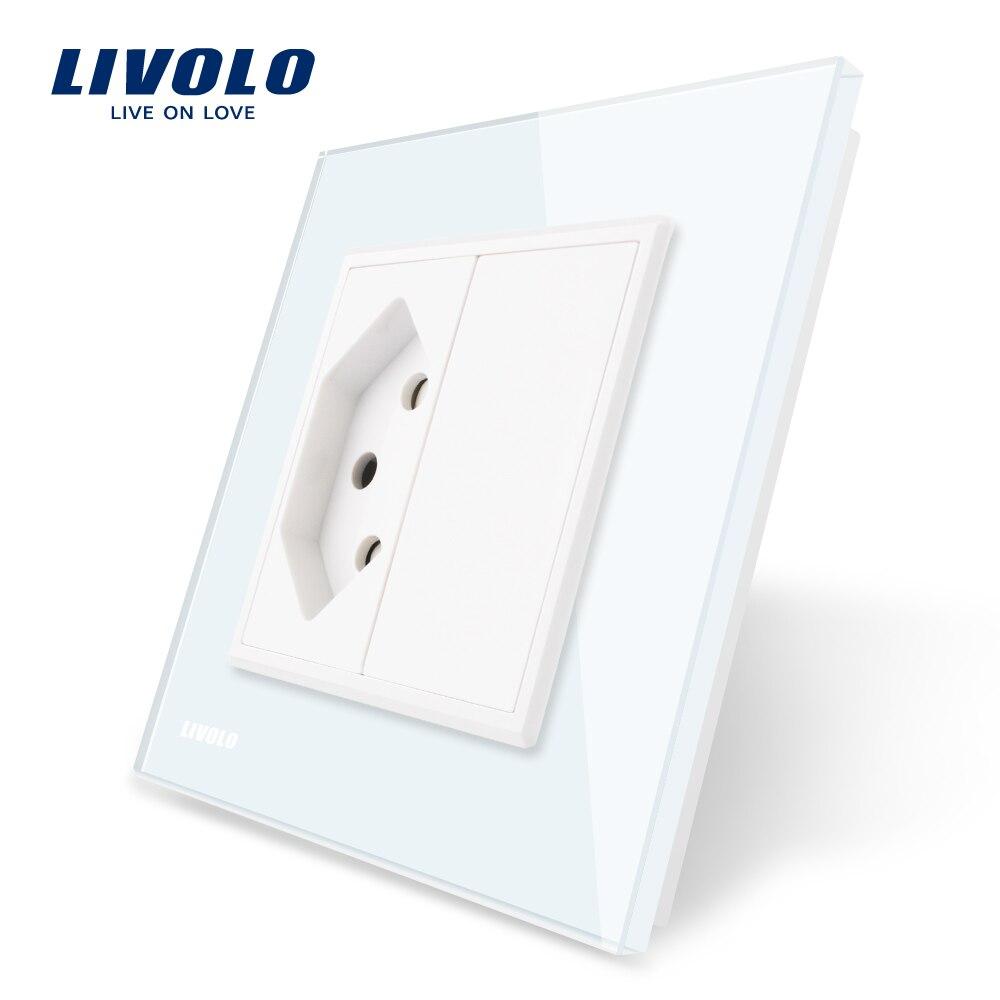 Livolo UE estándar Suiza enchufe, Panel de cristal blanco, AC 110 ~ 250 V toma de corriente de la pared, VL-C7C1CH-11