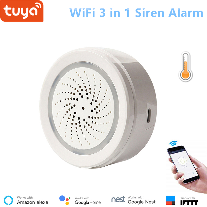 Tuya Smart Home Security WiFi Siren Alarm with Temperature and Humidity Sensor APP Remote Control Alexa Google Home Compatible(China)