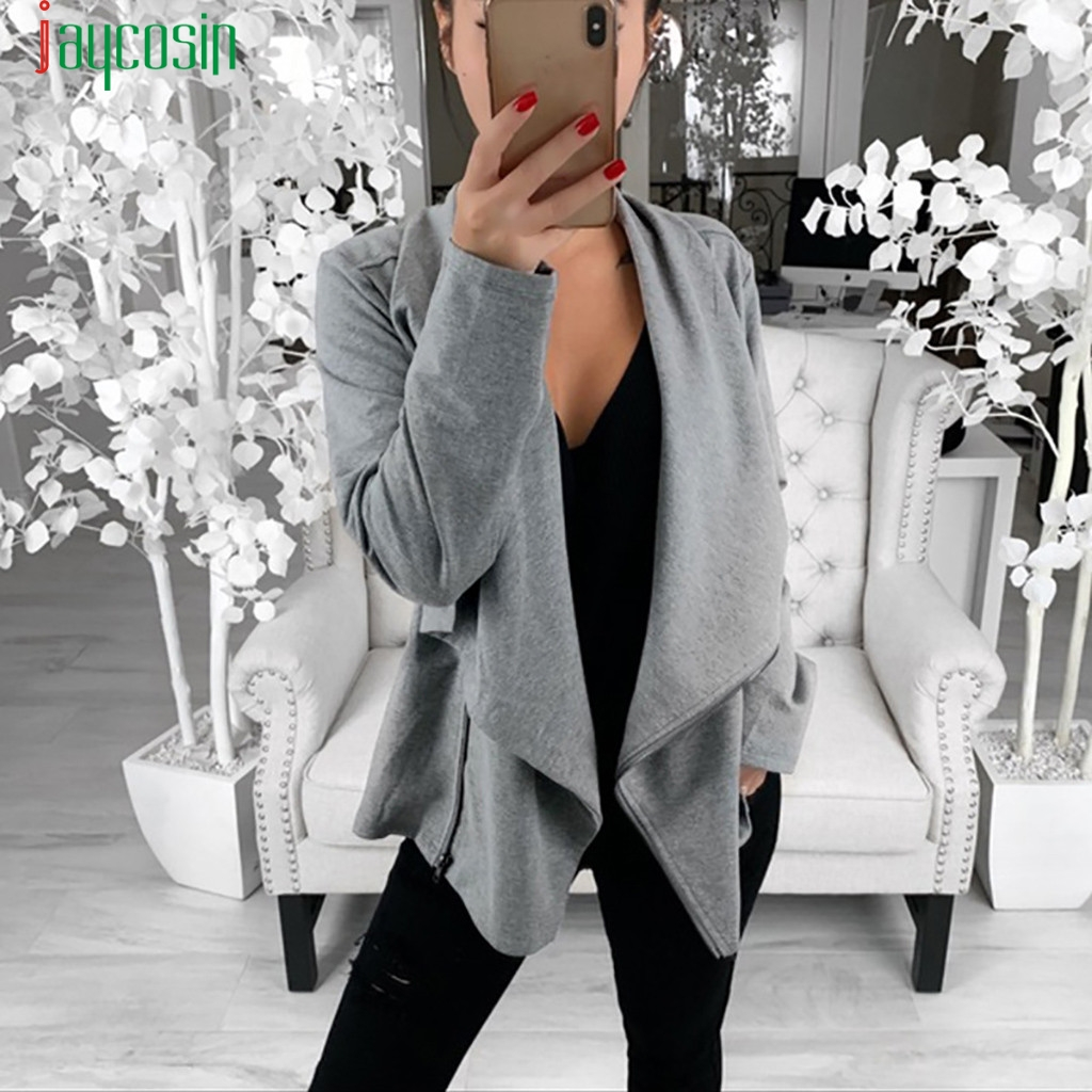 JAYCOSIN Jacket Fashion Ruffles Outwear coat Women Work Office Open Front Cardigan ladies autumn Loose Long Sleeve Outwear    09