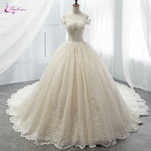 Ball-Gown Wedding-Dress Waulizane Chapel Train Appliques Princess Luxury Strapless Lace
