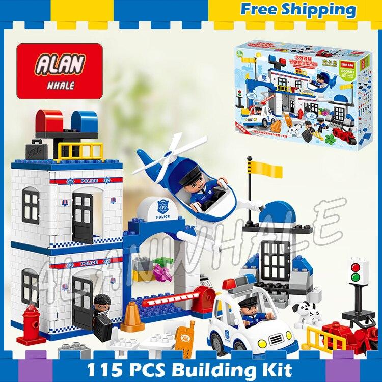 115 pièces Ville mon premier poste de Police ensemble modèle grande taille blocs de construction briques enfants jouets cadeaux ensembles compatibles avec Duplo Lego