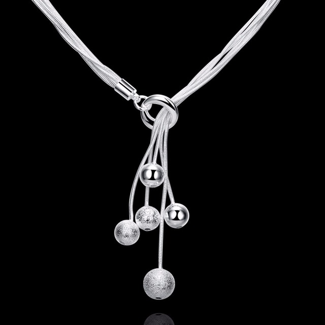 Small O Squash Pendant Necklace 18 inch Simple Round Pendant Fashion Rolo Moving Charm Zirconia Sterling Silver Necklace Jewelry