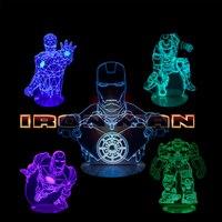 3D Vision Illusion Night Light Iron Man Superhero Tony Stark Mask Table Lamp Colourful Kids Children