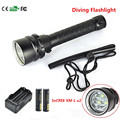6000lm 3xCREE XM-L U2 LED Diving Flashlight  LED waterproof flashlight light Underwater Light +2x18650 4000MAH Battery + Charger