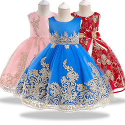 Summer's latest elegant children's dress Kids Girl Party Princess Gowns Flower Girl Wedding Gold line applique Dress