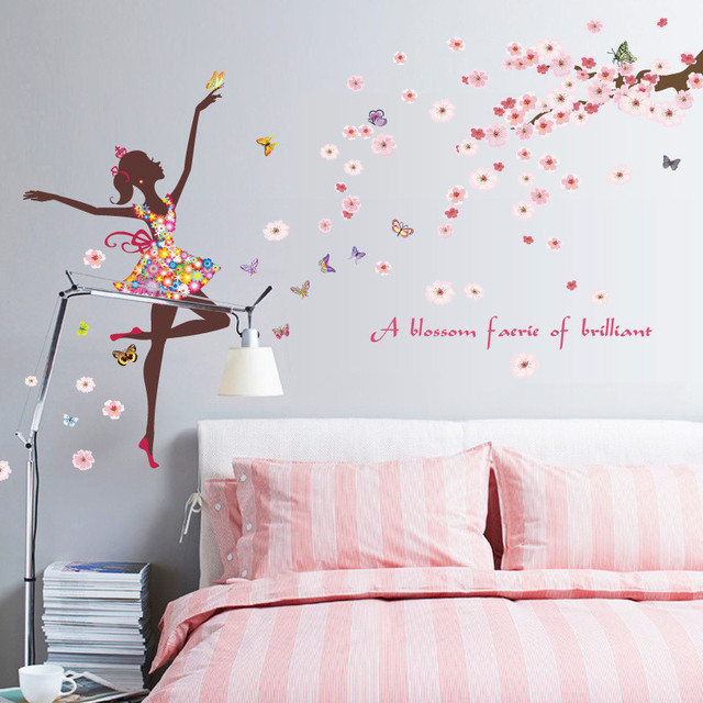 f es danse fille papillon rose fleurs arbre stickers muraux chambre stickers d coration papier. Black Bedroom Furniture Sets. Home Design Ideas